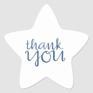 Thank You Cursive blue Star Sticker