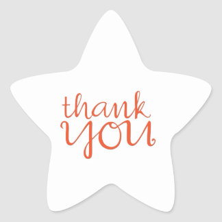 Thank You Cursive tangerine Star Sticker