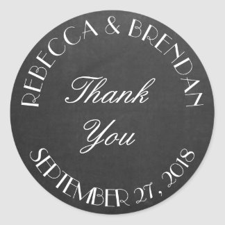 Thank You Curved Text Black Wedding Classic Round Sticker