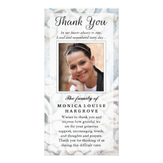 Thank You Custom Photo Sympathy - Floral Stone Picture Card