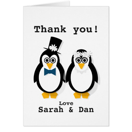 """Thank You!"" Customisable Penguin Wedding Card"