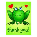 Thank You Cute Green Frog Hearts Postcard