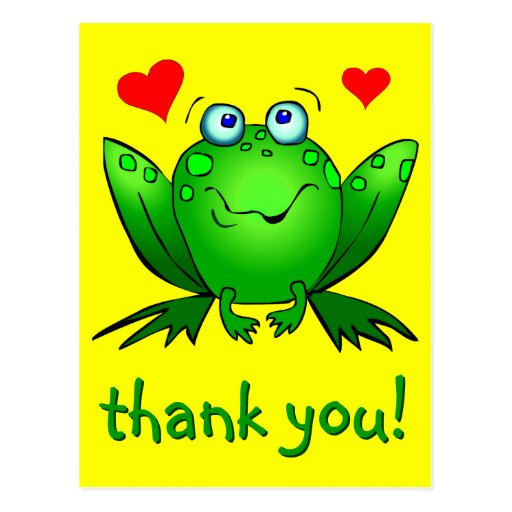 Thank You Cute Green Frog Hearts Yellow Postcards