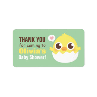 Thank You Cute Hatching Chick Baby Shower Labels