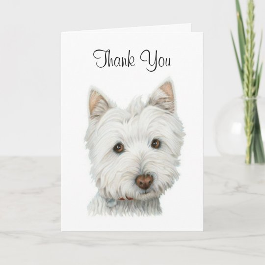 WEST HIGHLAND WHITE TERRIER WESTIE DOG GREETINGS NOTE CARD LOVELY STANDING DOG