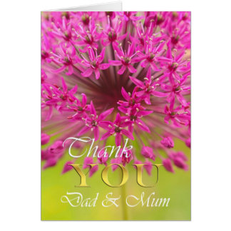 Thank you Dad & Mum, purple flower close up Card
