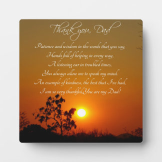 """Thank You, Dad"" Poem Gift Plaque"