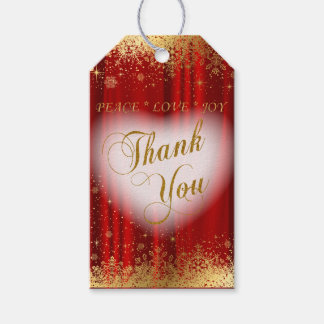 Thank You Deep Red Satin and Gold