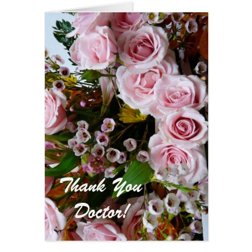 Thank You Doctor-Pretty Pink Rose Floral Greeting Cards