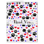 Thank You - Dog Paws, Bones, Hearts - Red Pink