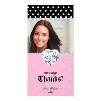 Thank You Dots Lace Heart Diamonds Sweet 16 Customized Photo Card