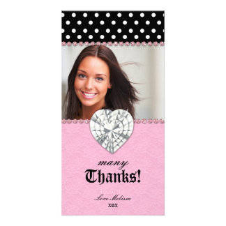 Thank You Dots Lace Pink Jewel Sweet 16 Photo Greeting Card
