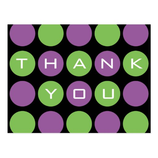 Thank You Dots on Black Postcard