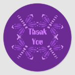 Thank you, dragonflies in purple & pink round stickers