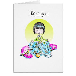 Thank You dressed up with bangs notecard Note Card