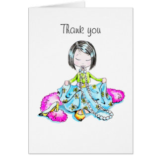 Thank You dressed up without bangs notecard Note Card
