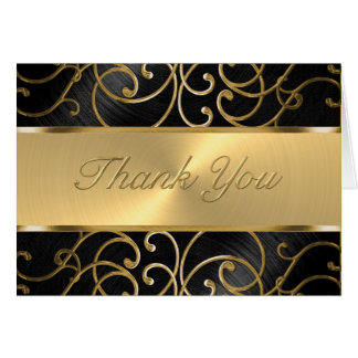 Thank You Elegant Black and Gold Filigree Card