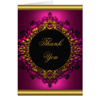 Thank You Elegant Dark Pink Gold Black Note Card