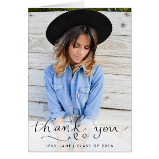 Thank You Elegant Handwritten Graduate Photo Greeting Card