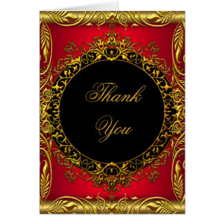 Thank You Elegant Red Gold Black Note Card
