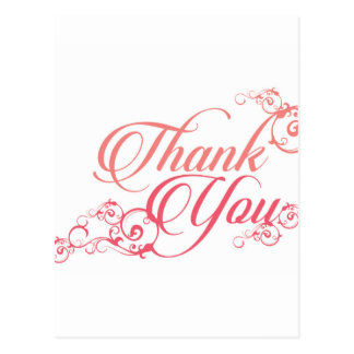 Thank you elegant script in blush and pink postcard