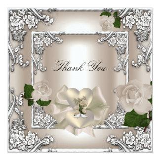Thank You Elegant Wedding Cream Rose Silver White 13 Cm X 13 Cm Square Invitation Card