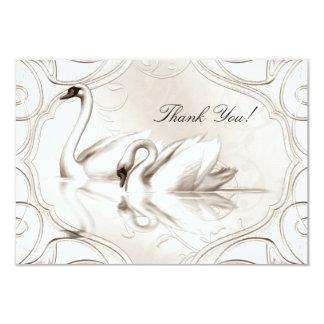 Thank You Elegant Wedding Cream White Swans Set Card