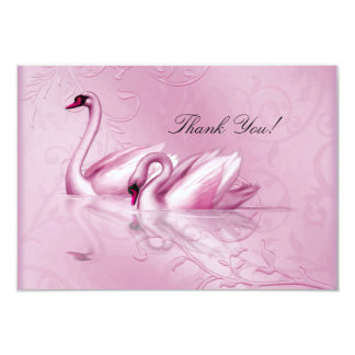 Thank You Elegant Wedding Pink Swans Card