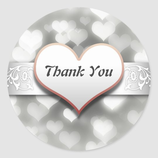 thank you elegant white love hearts sticker