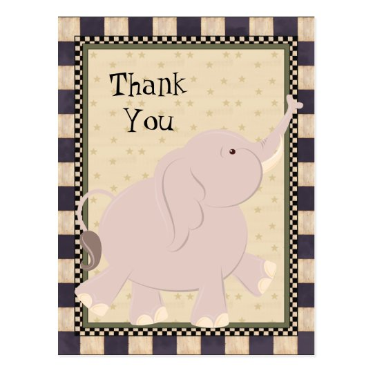 Thank You Elephant Cartoon Postcard