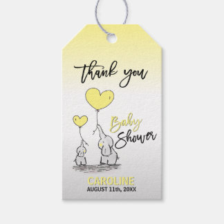 THANK YOU Elephant Yellow Grey Mommy & BABY SHOWER Gift Tags