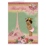 Thank You Ethnic Paris Princess Baby Shower Note Card