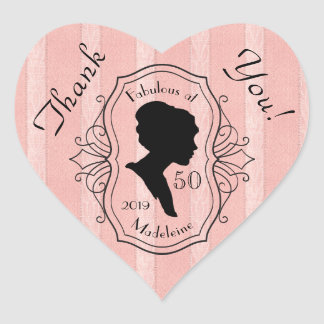 Thank You Fabulous at Fifty Cameo Lady Silhouette Heart Sticker