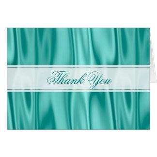 Thank You:   Faux Aqua Satin Fabric Texture Card