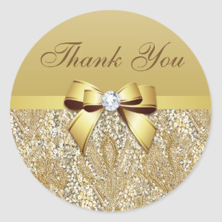 Thank You Faux Gold Sequins Bow Diamond Round Sticker
