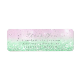 Thank You Favor Ombre Silver Mint Pink Pastel Return Address Label
