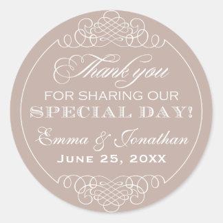 Thank You Favor Sticker | Wedding Monogram