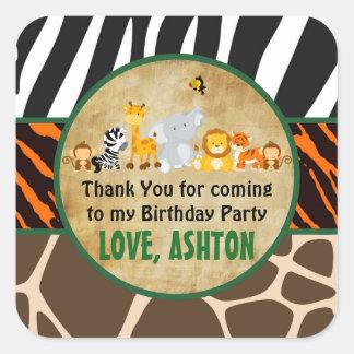 Thank You Favor Tag Jungle Safari Birthday Party Square Sticker