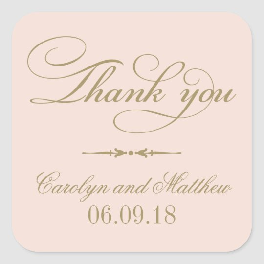 Thank You Favour Sticker | Blush and Antique Gold