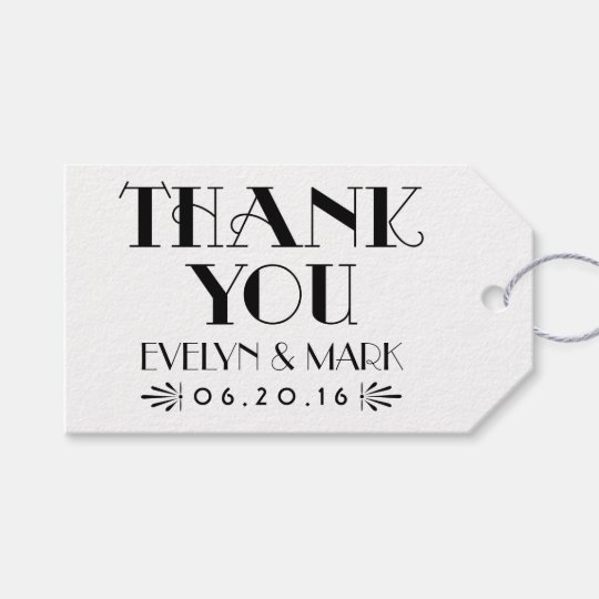 Thank You Favour Tag | Art Deco Style