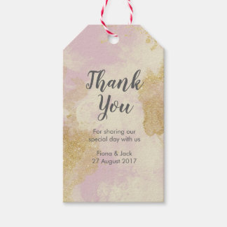 Thank You Favour tags in pink and gold glitter