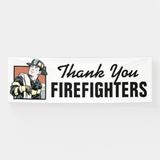 Thank you Firefighters customizable banner sign
