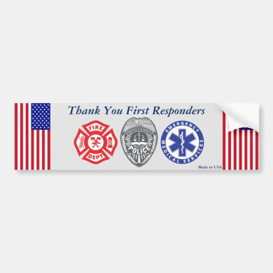 Thank You First Responders Bumper Sticker