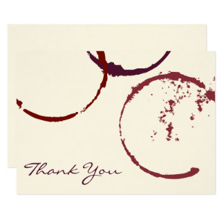 Thank You Flat Note Cards | Wine Stain Rings 9 Cm X 13 Cm Invitation Card