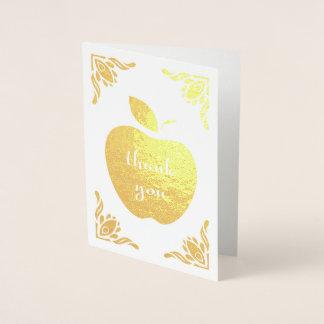 thank you floral apple foil card