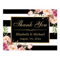 Thank You - Floral Black White Stripes Gold Frame Postcard