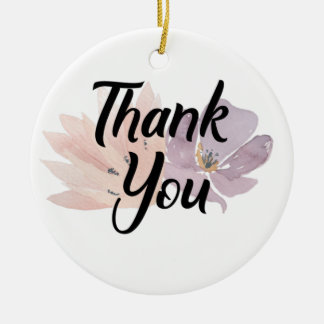 Thank You Floral Design Christmas Ornament