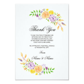 Thank You Floral Flowers Wedding Party Cards