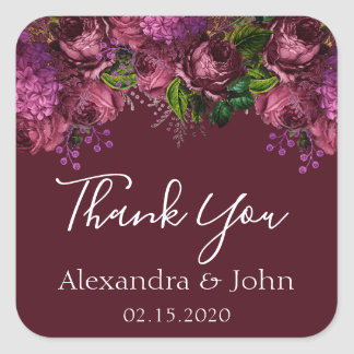 Thank You Floral Marsala Burgundy Square Sticker