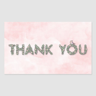 Thank You Floral Outlined Rectangular Sticker